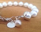 White Pearl Bracelet - Wedding Jewelry - Sterling Silver Jewellery - Bride - Pearl Jewelry