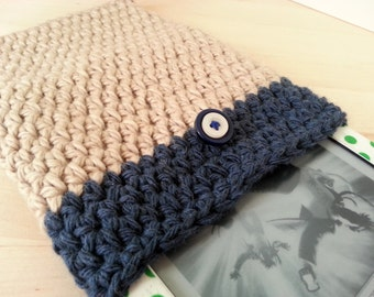 Crocheted eBook Cover in Blue & Beige