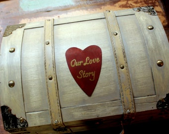 Wedding Card Box Trunk Love Letter Ceremony Anniversary Rustic Shabby Chic Fairytale Vintage Wedding Custom