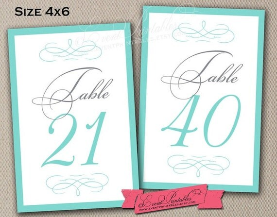 21 to 40 printable table numbers 4x6 diy table by