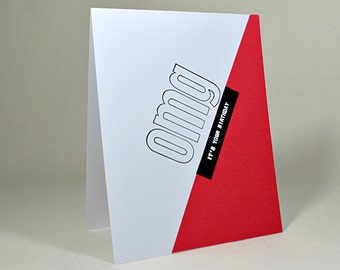 OMG It's Your Birthday Card, OMG Card, Greeting Card, Artful Card, Red and White, Birthday Card, Paper Wonders Shop, Carte d'Anniversaire
