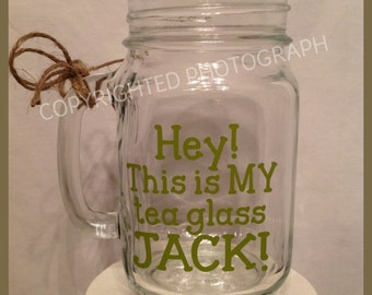 GLASS JACK! Handled Mason Jar for Duck Dynasty Uncle Si Robertson Fans