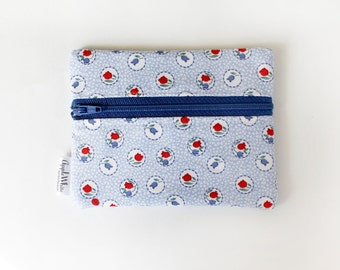 Coin Purse Blue  Floral Id Wallet Gift Idea Business Card Holder Credit Card Case Gift Card Holder