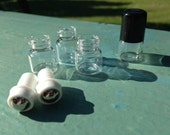 10 - clear glass mini roll on roller bottles ** 1ml ** with metal roller, black cap