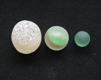 Seaglass supplies. Rare Marbles. 3 x Beautiful Scottish Seaglass Pieces for Jewellery Making and Crafts
