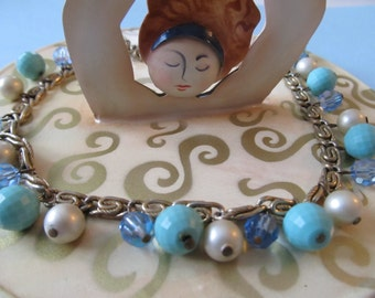 Trifari Necklace with Turquoise Beads, Faux Pearl and AB Stones- 1960 Vintage