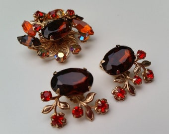 Vintage Amber and Orange AB Rhinestone Brooch and Matching Earrings