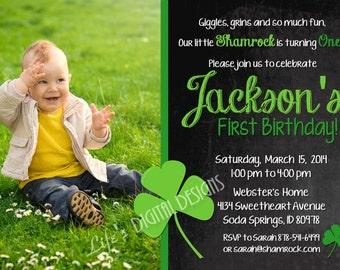 St. Patrick's Day Birthday Invitation First Birthday Chalkboard Green Shamrocks Photo Customizable Printable