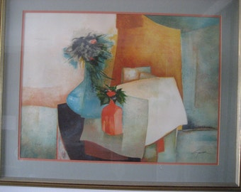 """Claude Gaveau Lithograph """"Pot Orange"""" 1980, Signed, Framed And Ready For Hanging"""