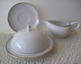 Royalton China Golden Elegance Pattern Butter Dish Creamer Saucer