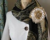 Fabric Brooche or Pin with Rhinestone Center Handmade, Silk, Accessory, Adornment