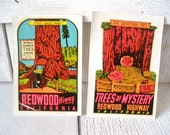Two vintage travel stickers decals souvenir California redwoods 1950s