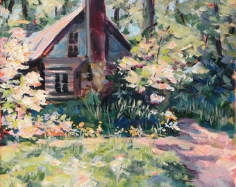 """Landscape Painting- 11x14 Original Acrylic on Canvas, """"Step into Spring"""""""
