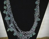 Adventuring GemStones in a Silver Lame Necklace - Charity Donation Proceeds- Free Shipping
