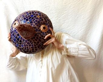 Mosaic Bird Sculpture, Wall Hanging mask for the Garden, blue night bird picassiette