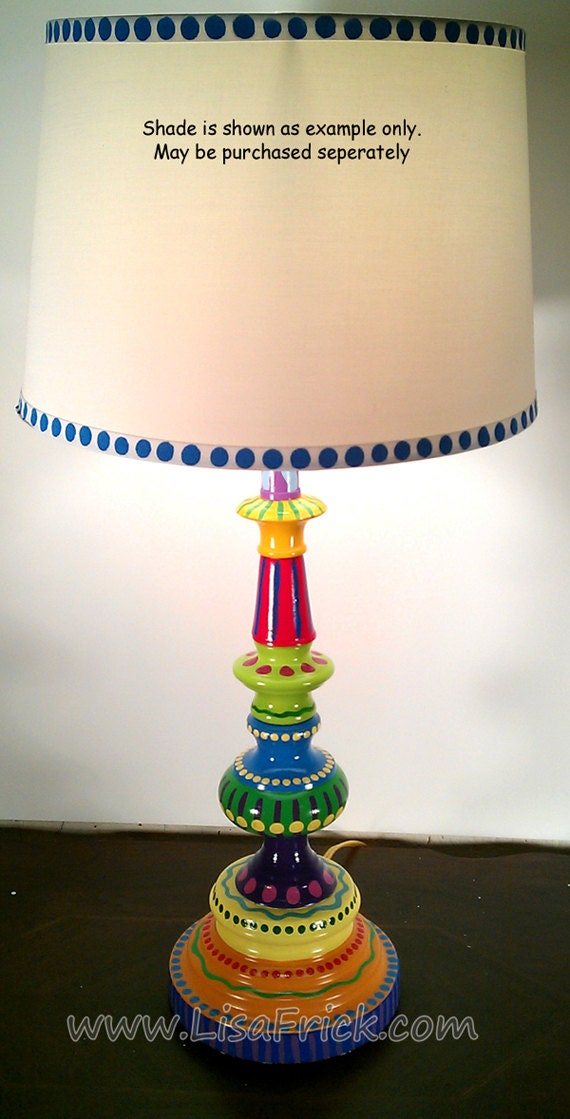 Hand Painted Table Lamp 002 Fun Funky Whimsical And Crazy