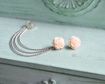 Pale Pink Rose Silver Ear Cuff Earrings (Pair)