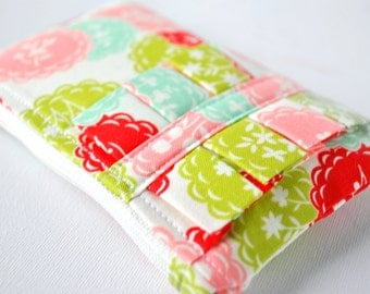 Coin purse pouch woman's floral cut out doily change wallet in flowers print in green,pink and red with ruffle.