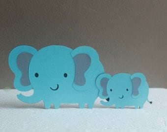 mom and baby elephant baby shower cake topper elephant baby shower decorations blue