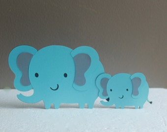 Mom and Baby Elephant Baby Shower, Cake Topper, Elephant Baby Shower Decorations, blue and gray elephant, baby shower elephant