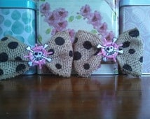 Unique burlap shoe clip bows with black polka dots and a pink priate skull patch in the center of the bow/2 shoe clips/Burlap bows
