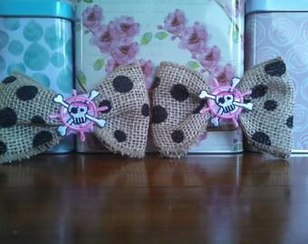 Pink bows, Wedding bows, Wedding shoe clips, skull shoe clips, burlap bows, pink wedding accessories