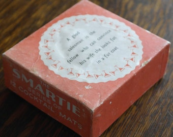 vintage boxed set of paper drinks coasters 1960