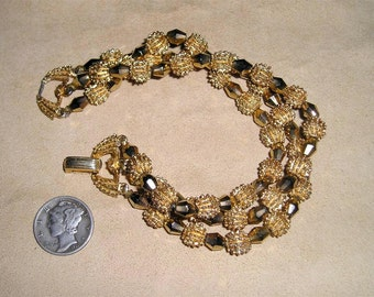 Trifari 3 Strand Bracelet Vintage Gold Glass Stones 1960's Signed Jewelry 2245