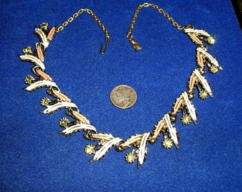 Vintage Jonquil Rhinestone Enamel Necklace 1960's Choker Jewelry 8025