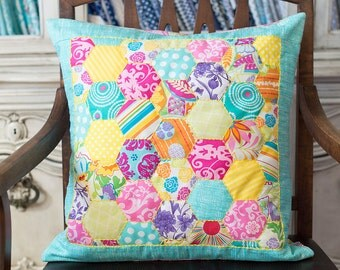 NEWLY REDUCED -- Hand Pieced Hand Embroidered Hexagon Pillow Cover