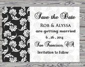 Save the Date Card, Wedding Planning, Black and White
