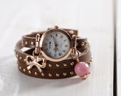 "SALE 50% off: Genuine Leather - Wristwatch, wrap watch, watch, rose-gold ""Lovely Present"""