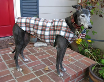 Greyhound Dog Coat & Jacket, Green, Red Orange, Black and White Plaid Fleece with Green Fleece Lining