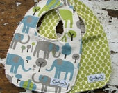 Elephant Baby Bibs - Set of 2 - Trunk Tales & Lime Moon - Gender Neutral - Boy or Girl - Grey Vintage Blue and Lime