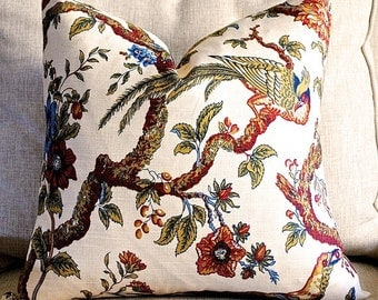Designer Pillow Cover-18x18 -Floral-Berry Tree-ROBERT ALLEN-Bird Pillow