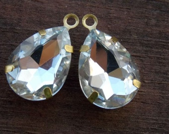 2 Clear Crystal Charms in Brass Settinng  21mm