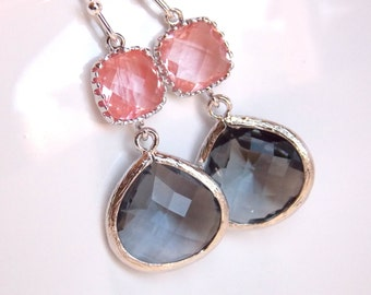 Glass Earrings, Coral Earrings, Peach Earrings, Gray Earrings, Grey, Pink, Drop, Wedding Bridesmaid Earrings, Bridal, Bridesmaid Gift