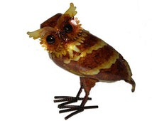 1 Pc 10 Inch Metal Garden Owl  CLOSEOUT ITEM!!