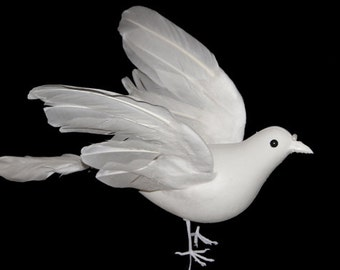 2 Pc 12 Inch White Feather Doves (Demi) Craft Doves for Weddings, Funerals, Floral Arrangements, Decorating and Photography