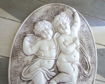 Vintage Italian Cherubs Bas Relief Plaque Capodimonte Wall Art made in Italy