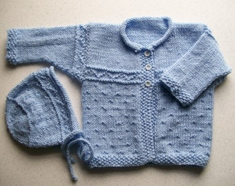 Baby Blue Cardigan and Hat
