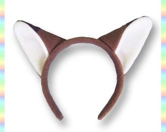 """Brown Fox Ears Headband - 1/2"""" Flexible Band AntiPill Fleece Child Teen Adult Neko Geeky Summer Cute Kawaii Anime Cosplay Animal Kitsune"""