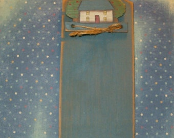 """Vintage 1980's Country Note Holder, Wood, Signed, Milk Blue, Home Design, Made to Hang, 12""""H"""