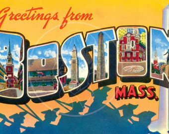 Greetings from Boston - 10x16 Giclée Canvas Print of a Vintage Postcard
