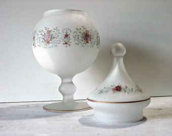Vintage White Frosted Glass Compote, Floral Design, Matching Cover, Art Glass, Home Decor