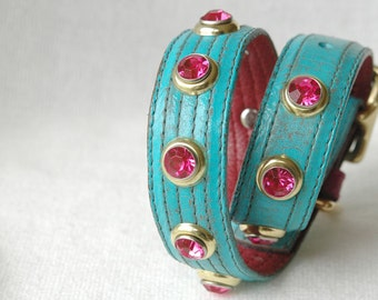 "Turquoise and Pink Leather Dog Collar, Turquoise Dog Collar. Gold and Turquoise leather dog collar. Sizes 14-19""inches"