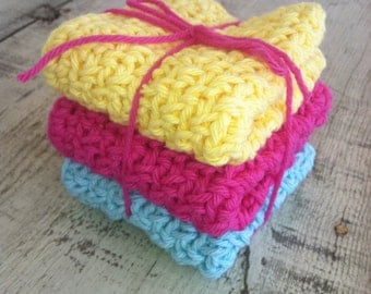 Crocheted Dish Cloths -  3 medium and double thick,  100% cotton, sunshine, pink and Tiffany blue