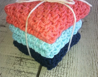 Crocheted Dish Cloths -  3 medium and double thick,  100% cotton, coral Tiffany blue and navy blue
