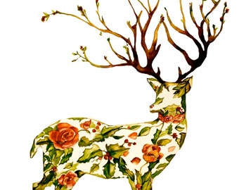 The holiday deer 8 x 10  inches watercolor art print  gift idea