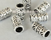 2 TIBETAN Style Barrel Tube Beads - 12x7mm Antiqued SILVER Plated - Large HOLE 4.5mm Bead - Boho Metal Beads - Wholesale Beads - 5500